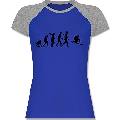 Evolution - Skiabfahrt Evolution - zweifarbiges Baseballshirt / Raglan T-Shirt für Damen Royalblau/Grau meliert