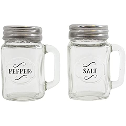 Retro Glass Salt & Pepper Shaker Cruet Set With Handles by Jones Home and Gift