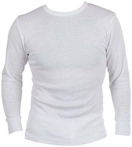 Mens Thermal Long Sleeve T-Shirt Vest Top (Medium, White)