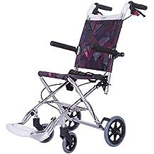 Silla de ruedas plegable ultra ligera, dispositivo transporte autopropulsado lujo operadora hasta 100 kilogramos con