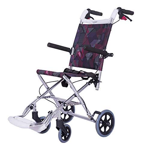 KOSHSH Ultra-Lichght-Faltrollstuhl, Deluxe-Attendant Selbstfahrer-Transportgerät bis 100 kg mit Tall Handles Portable Wheelchair für die Unabhängigkeit oder Caretaker Convenience -