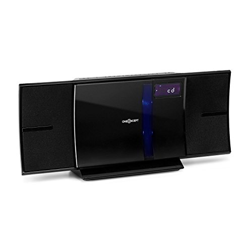 OneConcept V-16-BT - Stereoanlage, Kompaktanlage, Bluetooth, CD-Player, USB, MP3, UKW, LCD-Display, Wandmontage, schwarz