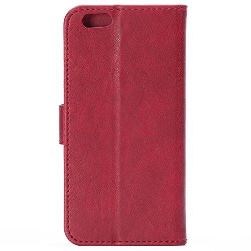 MXNET Crazy Horse Texture Horizontale Flip Leder Tasche mit Card Slots und Halter, Case für iPhone 6 & 6s ,Iphone 6/6s Case ( Color : Red ) Red