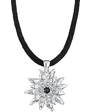 Elli Damen Halskette mit Anhänger Edelweiß Wiesnschmuck 925 Sterling Silber mit Kristallen von Swarovski 45 cm...