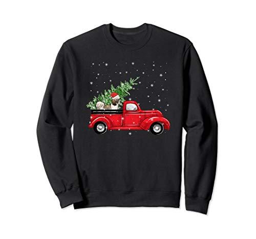 Funny Shih Tzu In Truck Drive Christmas And Tree Sweatshirt -