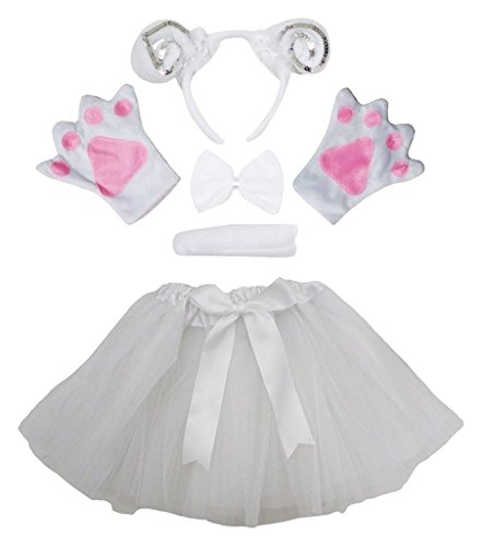 Petitebelle Stirnband Bowtie Schwanz Handschuhe Tutu 5pc Mädchen-Kostüm Einheitsgröße Weiß Silber Schaf ()