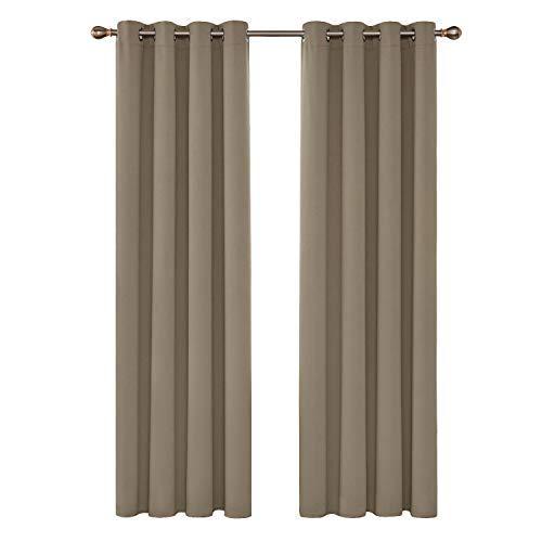 Deconovo Tende Oscuranti Termiche Isolanti Tende da Sole con Occhielli per Casa Moderne 140X290 CM Cachi 2 Pannelli