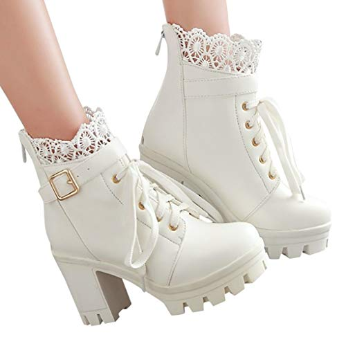 DNOQN Mode Damen High Heel Stiefel Dicke Schnür Stiefeletten Platform Spitze Studenten Schuhe Weiß 43