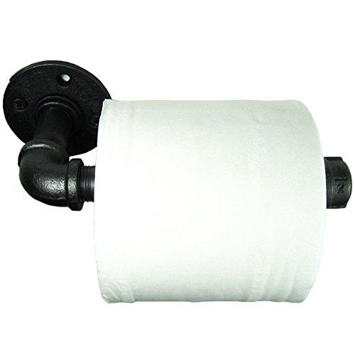 Jeteven Vintage Toilettenpapierhalter aus Metall,Industrielle Rohr mit Flansch Klopapierhalter,Schwarz Matte Finish (3 4 Eisen-rohr-flansch)