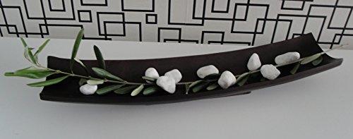 Deko Schale aus massivem Mangoholz, rechteckig, Länge 39 cm (braun)