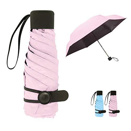 Queta Mini Paraguas Plegable para Mujeres Portátil con Longitud 18cm 6 Costillas Grueso Negro Tela de Goma Anti Ultravioleta y Viento para Actividades al Aire Libre (Rosado)