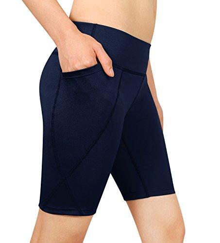 Cassiecy Damen Compression Sports Shorts Yoga Running Fitness Stretch Tights Kurze Hosen (XXL, Marineblau)