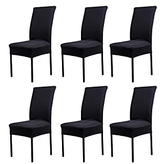 AIHOME Chair Slipcovers Solid Covers for Weddings Banquet Kitchen Dining Hotel Banquet Decoration Stretch Spandex, 6pcs (6PCS, Black)