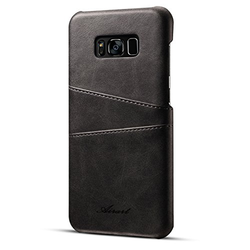 Samsung Galaxy S8 Plus Case, Airart Premium Vintage Soft Leather Wallet Case, Ultra Slim Snap-On Back Cover with 2 ID CRojoit Card Slots Holder for Galaxy S8 Plus(2017), Negro