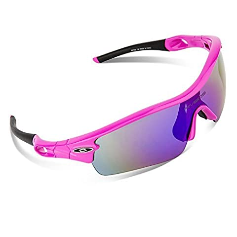 RIVBOS 805 Polarized Sports Sunglasses Glasses with 5 Interchangeable Lenses for Cycling(TR Rose Red)