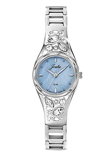 Joalia H633M387 - Orologio da donna con cinturino argentato, quadrante blu, pietre bianche