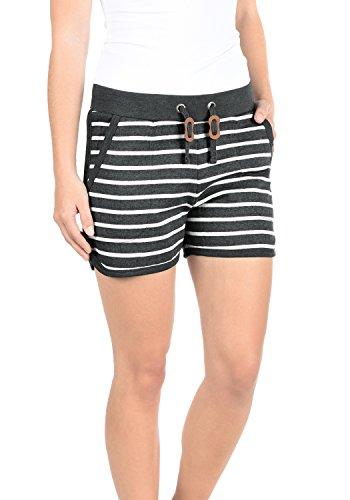 BlendShe Kira Damen Sweatshorts Bermuda Shorts Kurze Hose Mit Fleece-Innenseite Und Streifen-Muster Regular Fit, Größe:XL, Farbe:Charcoal (70818) -