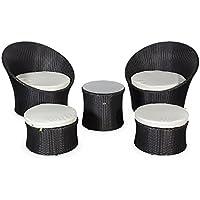 Alice's Garden - Salon de jardin encastrable et empilable en résine tressée - Capasanta - Noir, Coussin écru - 4 places - une petite table ronde et 4 assises