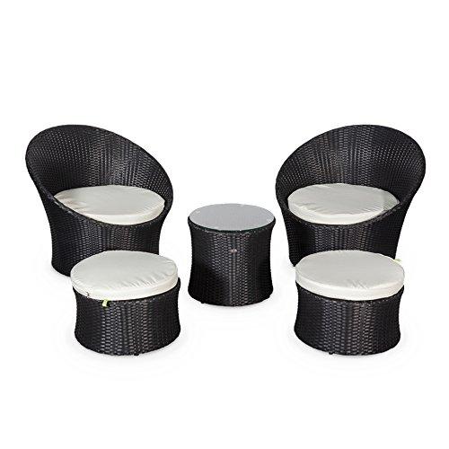 Alice's Garden Salon de jardin encastrable et empilable en résine tressée - Capasanta - Noir, Coussin écru - 4 places - une petite table ronde et 4 assises