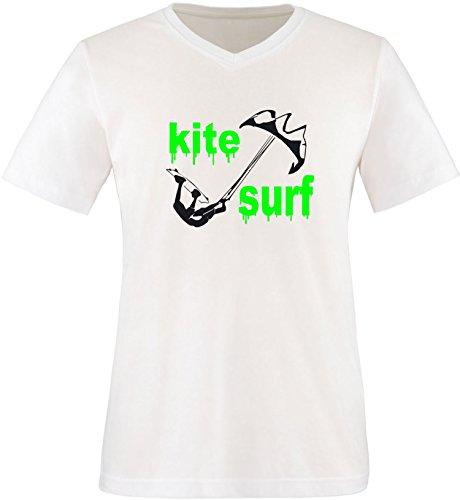 EZYshirt® Kite Surf Herren V-Neck T-Shirt Weiss/Schwarz/Neongr