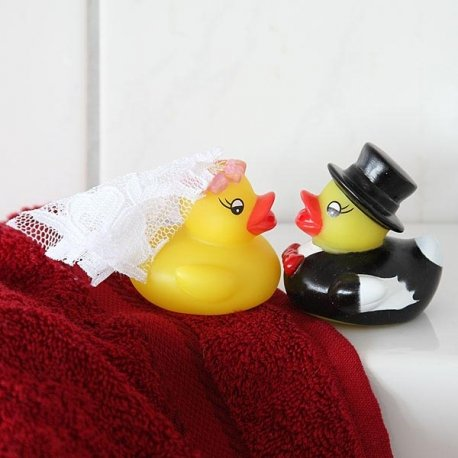 Ente Hochzeitspaar Quitsche 2 Entchen Badeentchen - 2