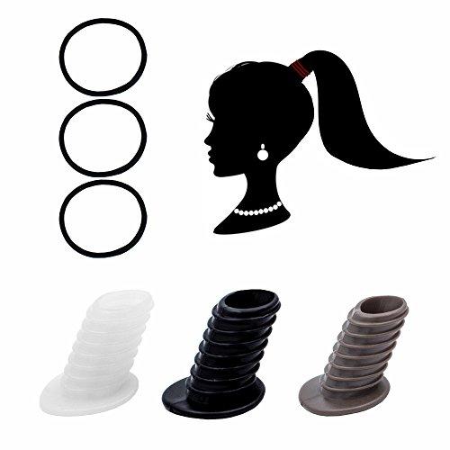 Perfect Pony Haargummi Haarband Zopf Dutt Pferdeschwanz Frisurenhilfe Fülliger (Schwarz)