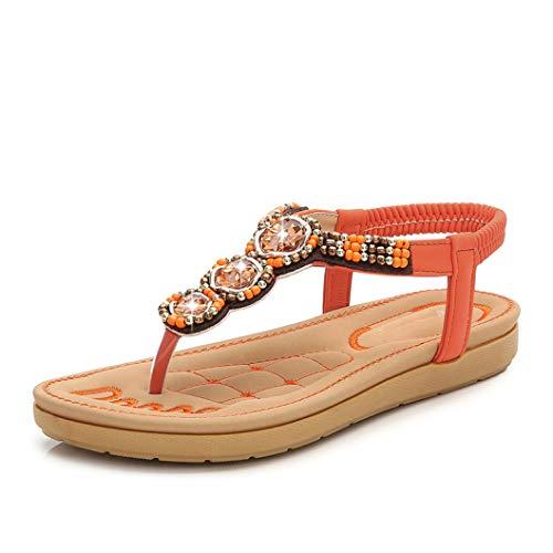 Frauen-böhmische T-Bügel-Flache Sandelholze Kristallzapfen-Flipflops gleiten auf elastischem Bügel-Sommer-Strand-Schuhen (Dansko Schuhe Mädchen)