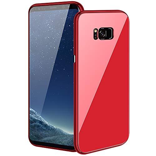 Caler kompatibel mit Samsung Galaxy S8 Plus/S8+ Schutzhülle + Hartglas 360 Gradi Caso exakte Slim Full Screen Protector, dünne Bumper Magnetische Handyschale