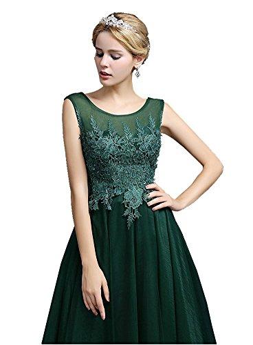 Beauty-Emily Transparent Spitzen Maxi Ohne Arm tiefer V-rückenfrei langes Abend-Kleid Grau