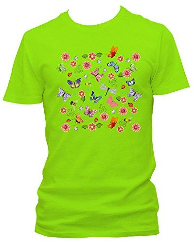 NEON Herren T-Shirt Schmetterling Blumenwiese Fun_neongrün_L