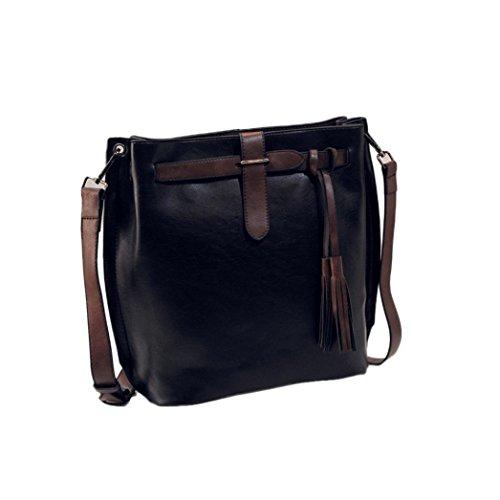 Transer Women Shoulder Bag Popular Girls Hand Bag Ladies Leather Handbag, Borsa a spalla donna Grey 27cm(L)*29(H)*14cm(W) Black