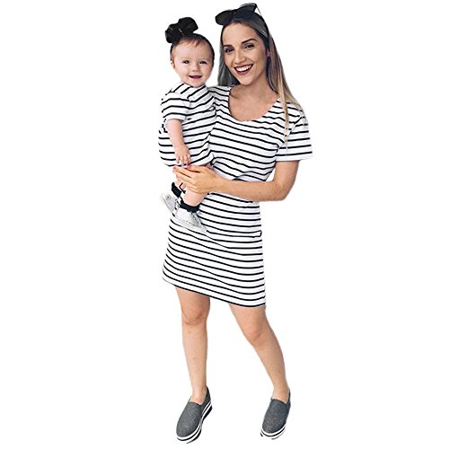 Felicy Mommy and Me Matching Dress, Women and Baby Girls Striped Print Short Sleeve Family Dress Beach Sundress Outfits Clothes Princess Party Dresses Best Gifts