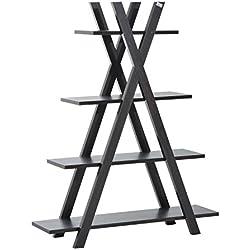 HOMCOM Estantería Escalera Multifuncional de Pie con Estantes a 4 niveles para Organizar y Almacenar objetos – Librería creativa para Hogar Cocina Baño Salón 120x35.5x150cm (Marrón casi negro)
