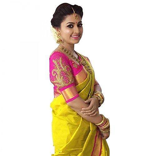 Art Decor Sarees Women's Silk Saree With Blouse Piece(Yellow ,Free Size)