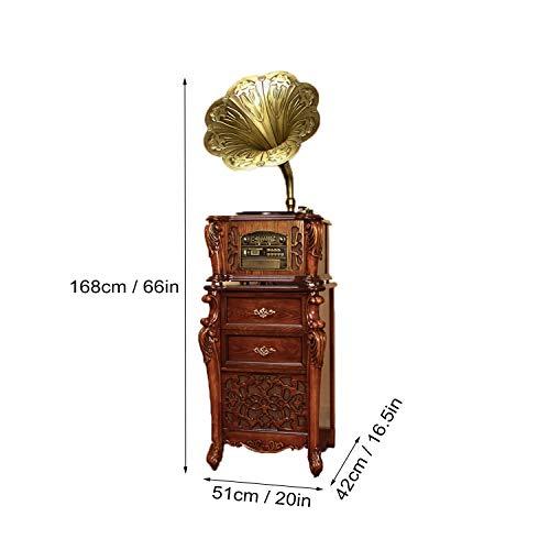 GOM Grammophon Radio, 3-Speed Turntables, Eingebaut Stereo HiFi Audio Lautsprecher-Systeme, Cinch-Ausgang, Unterstützung Bluetooth Verbindung, CD-Spieler, USB-Anschluss (Color : Brown) - Stereo Turntable System