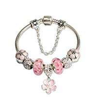 925 Silver Dangle Heart Crystal Beads Charms Pandora Elements Bracelet Valentines Gift