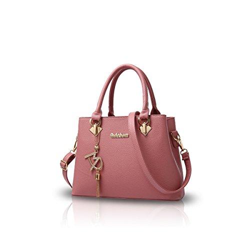 NICOLE&DORIS Le donne della borsa di modo di Crossbody borsa a tracolla per le signore Water Resistant Totes morbido PU Viola Rosa