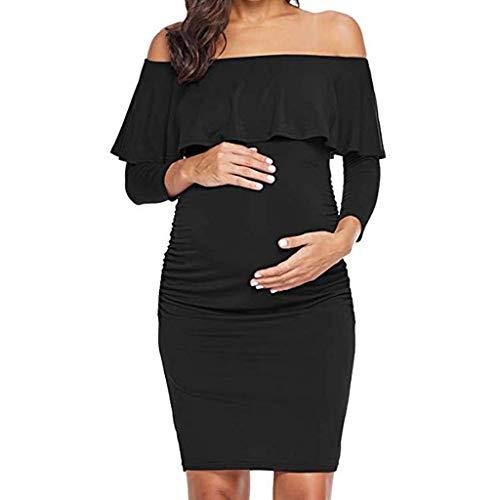 LHWY Umstandsmode Damen Kleider Frauen Mutter Rüschen Party Kleid Schulterfrei Slim Schwangerschaft Mutterschaft Minikleid - Baby Kostüm Mutter Pflege