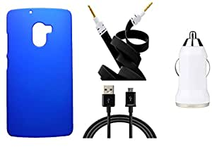XUWAP Hard Case Cover With Car Charger,Data Cable & Aux Cable For Lenovo K4Note - Blue