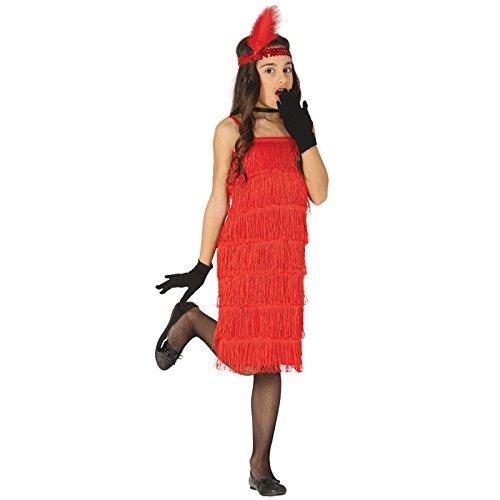 Rotes Flapper Kleid 20er Jahre Kostüm Kinder Mädchen (20er Mädchen Kostüm)