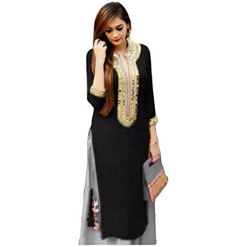 Women's Ethnic Wear Pure Cotton Unstitched Regular Wear Salwar Suits Dress Material (SB_DM _5099_BLACK&GERY_Free Size)