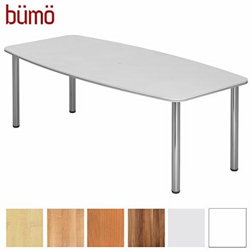 BÜMÖ Konferenztisch rund oval 220 x 103 cm in weiß | Besprechungstisch mit Chromfüße | Hochwertiger Meetingtisch