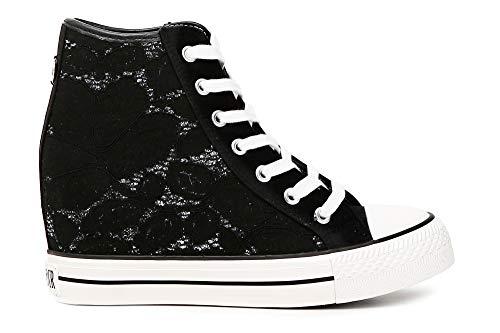 Cafènoir sneakers per donna in tessuto macramè bianco zeppa interna 7cm (38, nero)