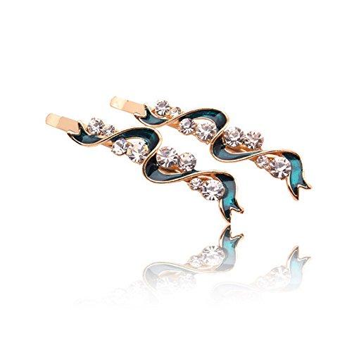 Five Season 2PCS Piques et Epingles a Cheveux Crystal Accessoires Coreen Forme Ruban Femme de Mode 6,3*1,5cm Vert Malachite