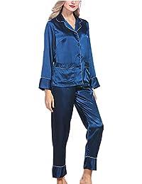 a16b412da1d2 Xinvision 2 Piezas Lujo Mujer Classic Color Puro Satín Seda Mangas largas  Conjunto de Pijamas Loose