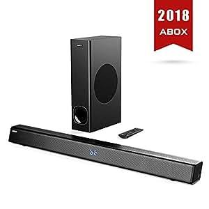 SoundBar con Subwoofer, ABOX Sound Bar per TV, 120W, Home Cinema Suono Surround, Bluetooth 4.2, Altoparlante a 2.1 Canali, Wireless & Cablata, Controllo Tattile e Telecomando, Montabile a Parete