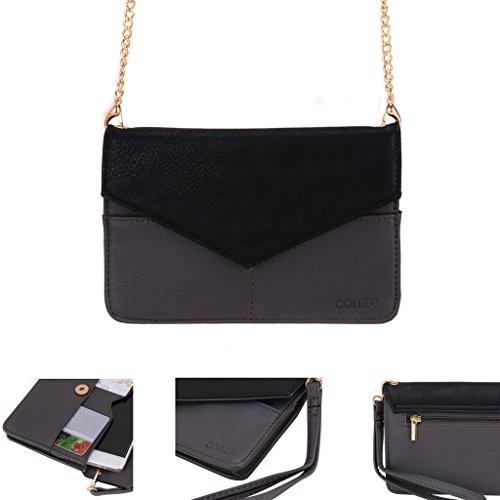 Conze da donna portafoglio tutto borsa con spallacci per Smart Phone per Kyocera Hydro Life/Elite Grigio grigio grigio