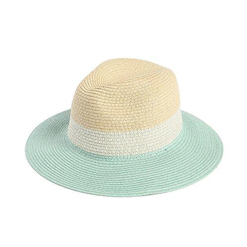 Les Hommes Et Les Femmes La Corée Chapeau Panama Casquette Voyage Sauvage Couleurs Mélangées Chapeau De Mode Vacances Skyblue