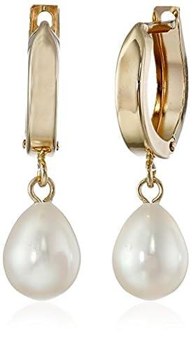Bella Pearl Hinged Post Gold Pearl Drop Earrings