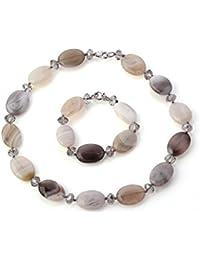 Ovalado TreasureBay FAB gris Gemstone de ágata y de cuentas de cristal collar con colgante en